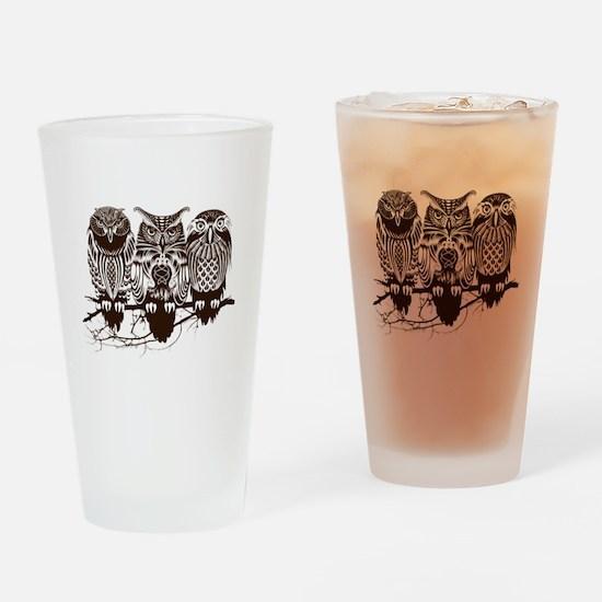 Three Owls Drinking Glass