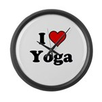 I Heart Yoga Large Wall Clock
