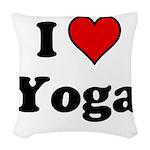 I Heart Yoga Woven Throw Pillow