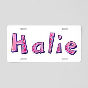 Halie Pink Giraffe Aluminum License Plate