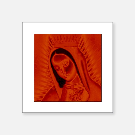 Virgen de Guadalupe - Red Rectangle Sticker