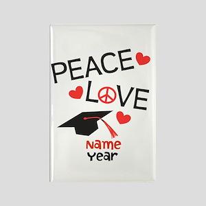 Customize Peace Love Grad Rectangle Magnet