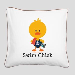 Anchor Swim Chick Square Canvas Pillow