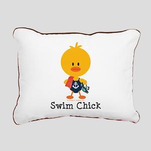 Anchor Swim Chick Rectangular Canvas Pillow