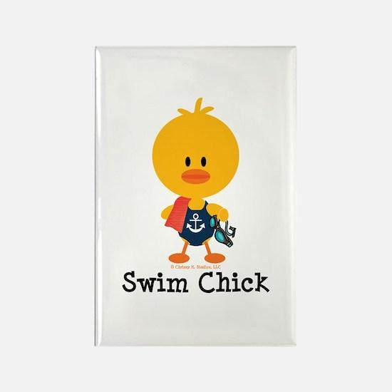 Anchor Swim Chick Rectangle Magnet
