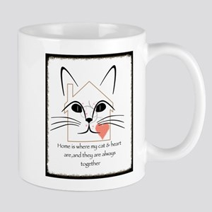 Cat and heart Mugs