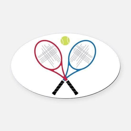 Tennis Rackets Oval Car Magnet