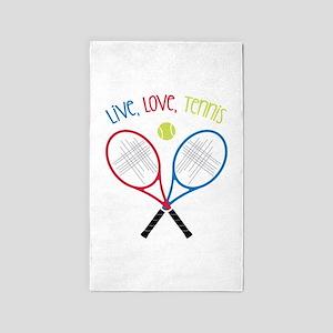 Live, Love, Tennis 3'x5' Area Rug