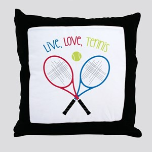Live, Love, Tennis Throw Pillow