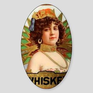 Vintage Lady Whiskey Bottle Label Sticker (Oval)