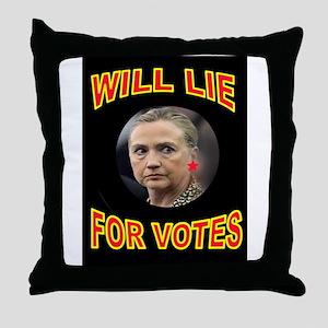 HLLARY LIES Throw Pillow