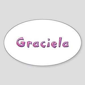 Graciela Pink Giraffe Oval Sticker