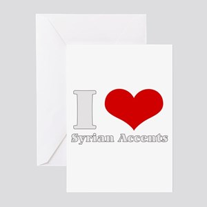 I Love (Heart) syrian accents Greeting Cards (Pack