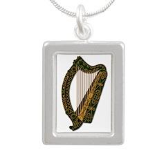 Harp-Ireland 2 - Silver Silver Portrait Necklace