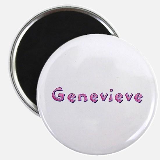 Genevieve Pink Giraffe Round Magnet