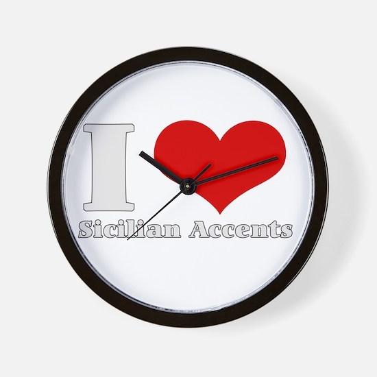 i love (heart) sicilian accen Wall Clock