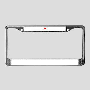 i love (heart) liberian accen License Plate Frame