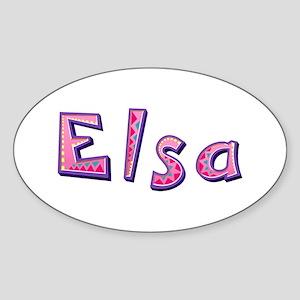 Elsa Pink Giraffe Oval Sticker