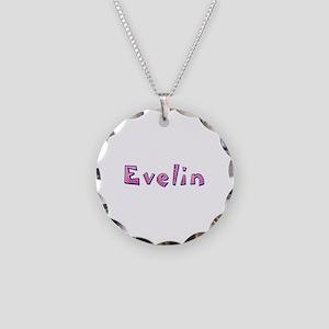 Evelin Pink Giraffe Necklace Circle Charm