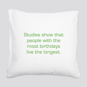 Most Birthdays Square Canvas Pillow