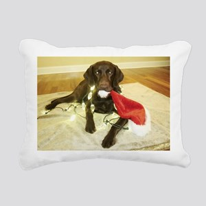 Chocolab Lab Christmas Rectangular Canvas Pillow