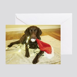 Chocolab Lab Christmas Greeting Card