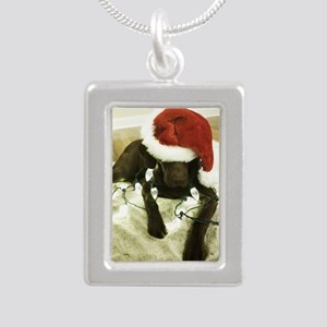 Chrocolate Lab Christmas Silver Portrait Necklace