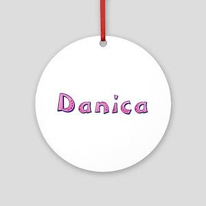 Danica Pink Giraffe Round Ornament