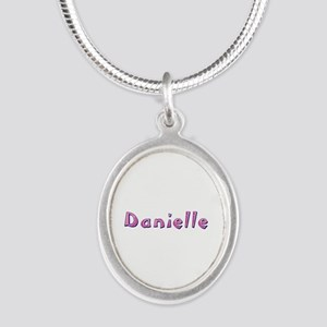 Danielle Pink Giraffe Silver Oval Necklace