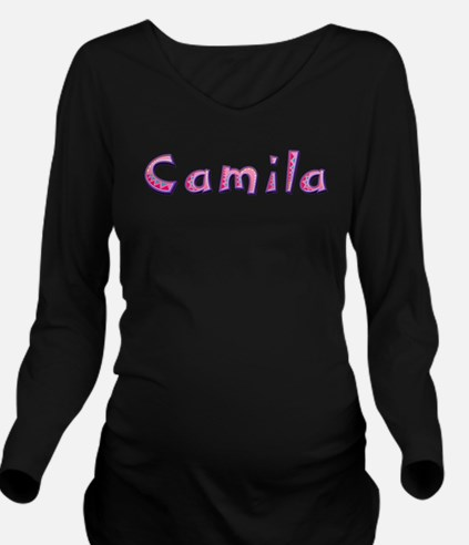 Camila Pink Giraffe Long Sleeve Maternity T-Shirt