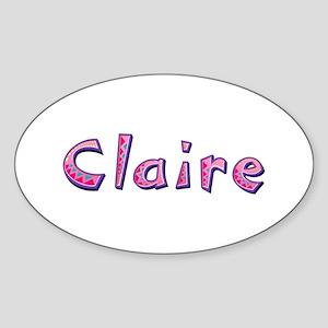 Claire Pink Giraffe Oval Sticker