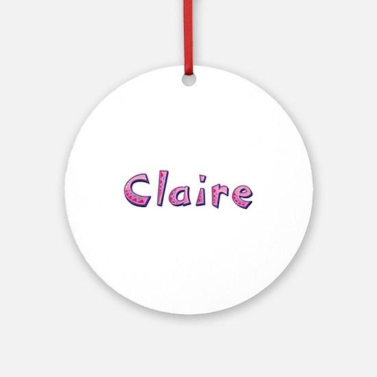 Claire Pink Giraffe Round Ornament