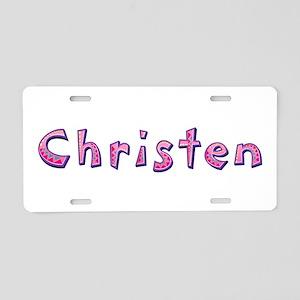 Christen Pink Giraffe Aluminum License Plate