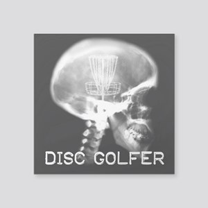 "Disc Golfer X-Ray Square Sticker 3"" X 3"""