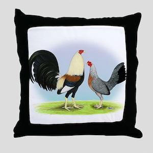 Grey Gamefowl Throw Pillow