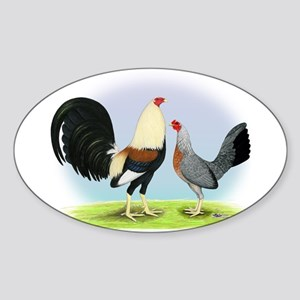 Grey Gamefowl Oval Sticker
