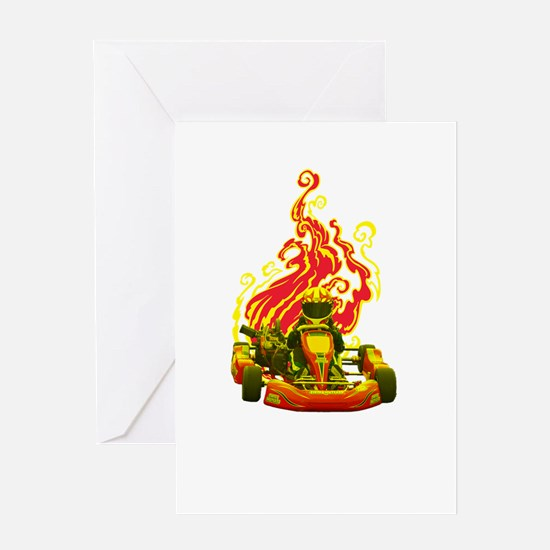 Kart Racer with Flames Greeting Cards