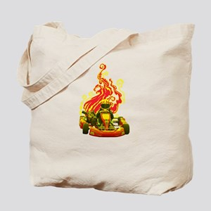 Kart Racer with Flames Tote Bag