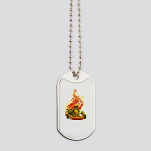 Kart Racer with Flames Dog Tags