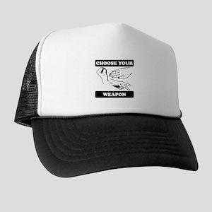 Rock Paper Scissors Choose Your Weapon Trucker Hat