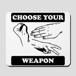 Rock Paper Scissors Choose Your Weapon Mousepad