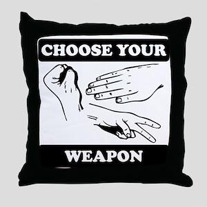 Rock Paper Scissors Choose Your Weapon Throw Pillo