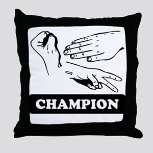 Rock Paper Scissors Champion Throw Pillow