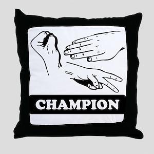 Rock Paper Scissors Champion Throw Pillow
