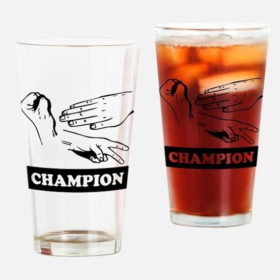 Rock Paper Scissors Champion Drinking Glass
