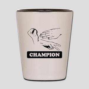 Rock Paper Scissors Champion Shot Glass