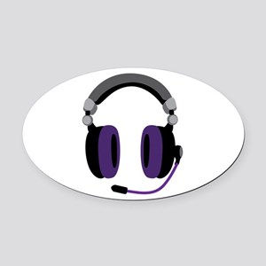 Video Gamer Headset Oval Car Magnet