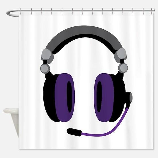Video Gamer Headset Shower Curtain