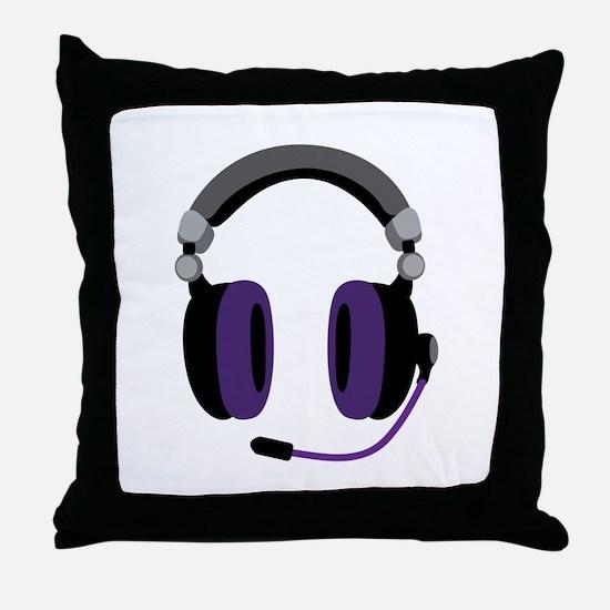 Video Gamer Headset Throw Pillow