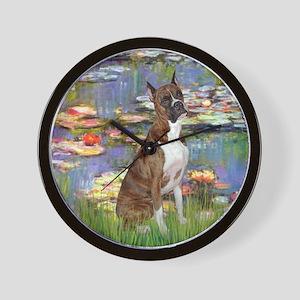 Lilies & Brindle Boxer Wall Clock